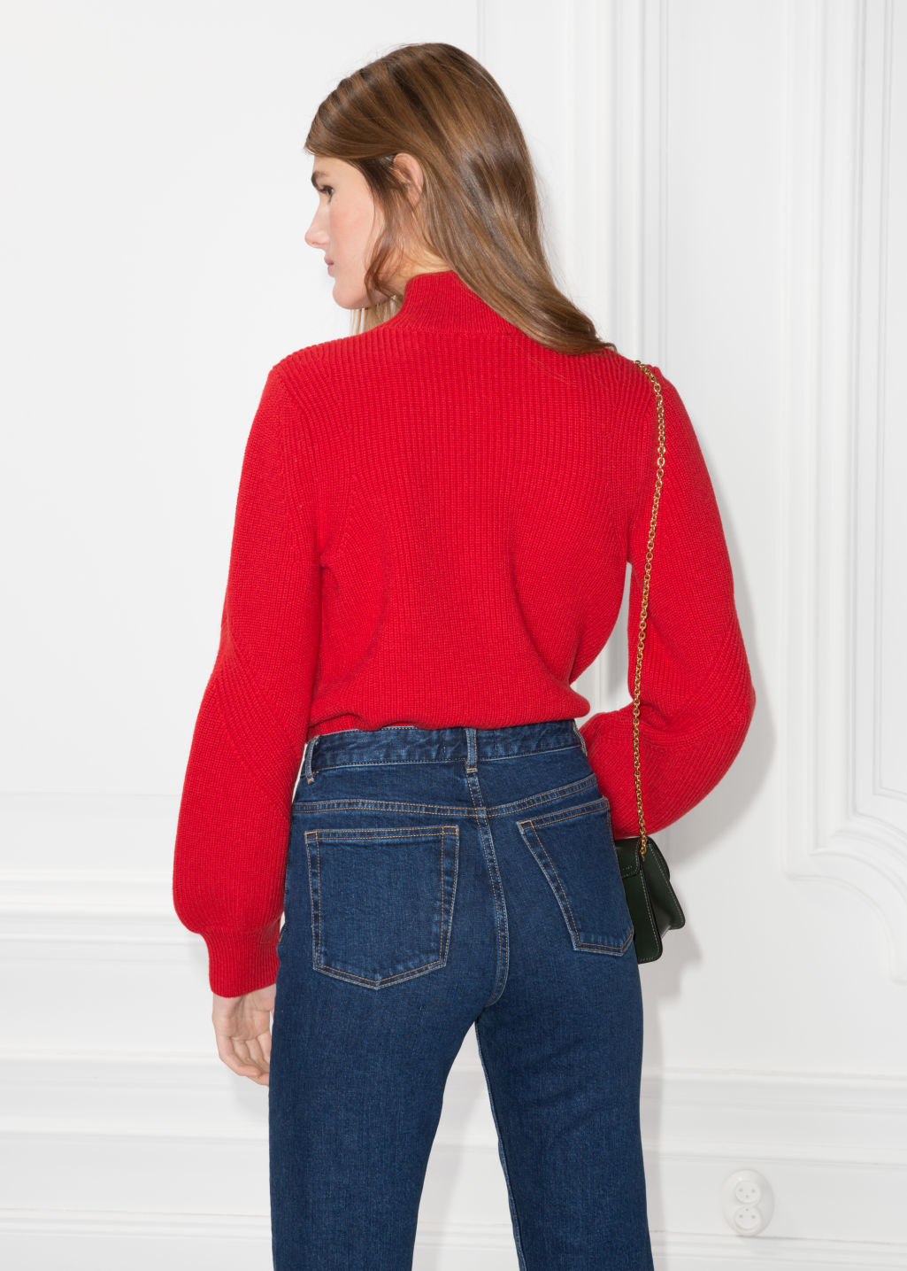 Model back image of Stories puffy sleeve sweater in red