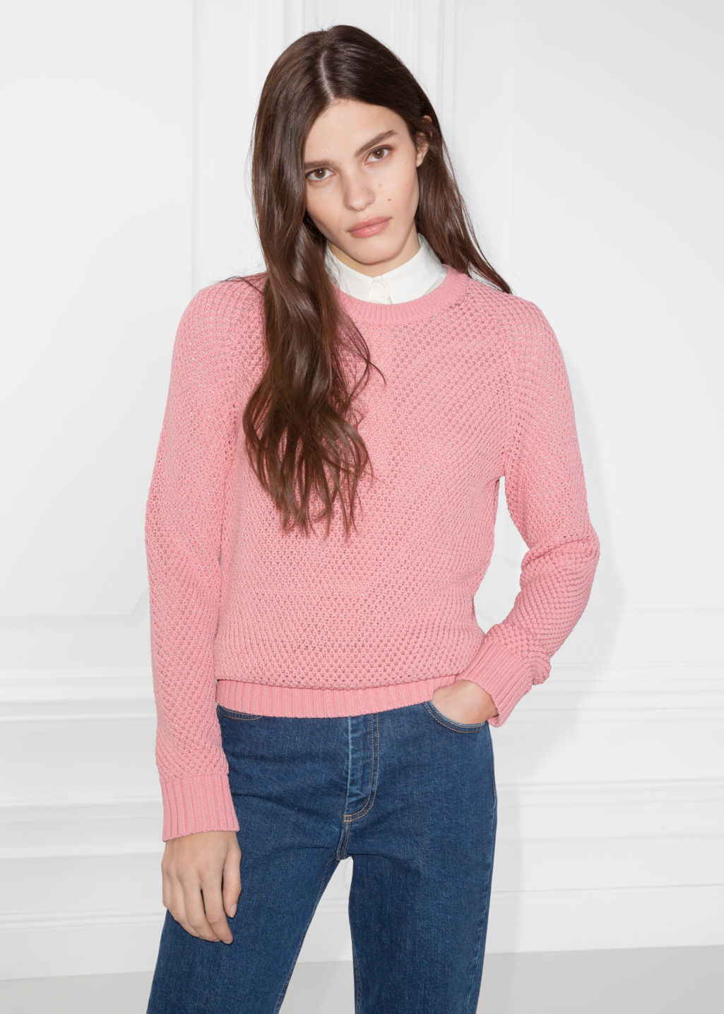 Model front image of Stories micro honeycomb knit sweater in pink