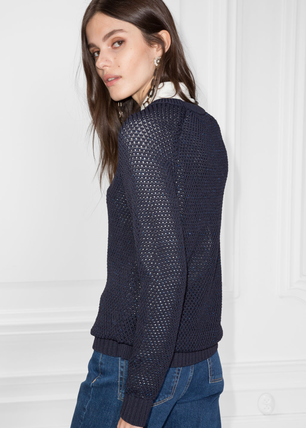 Model back image of Stories micro honeycomb knit sweater in blue