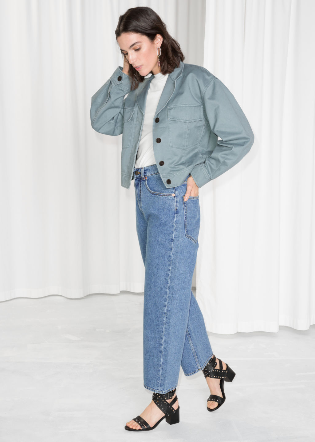 Model front image of Stories high waisted culotte jeans in blue