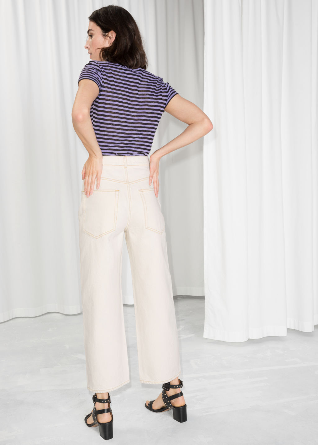 Model back image of Stories high waisted culotte jeans in white