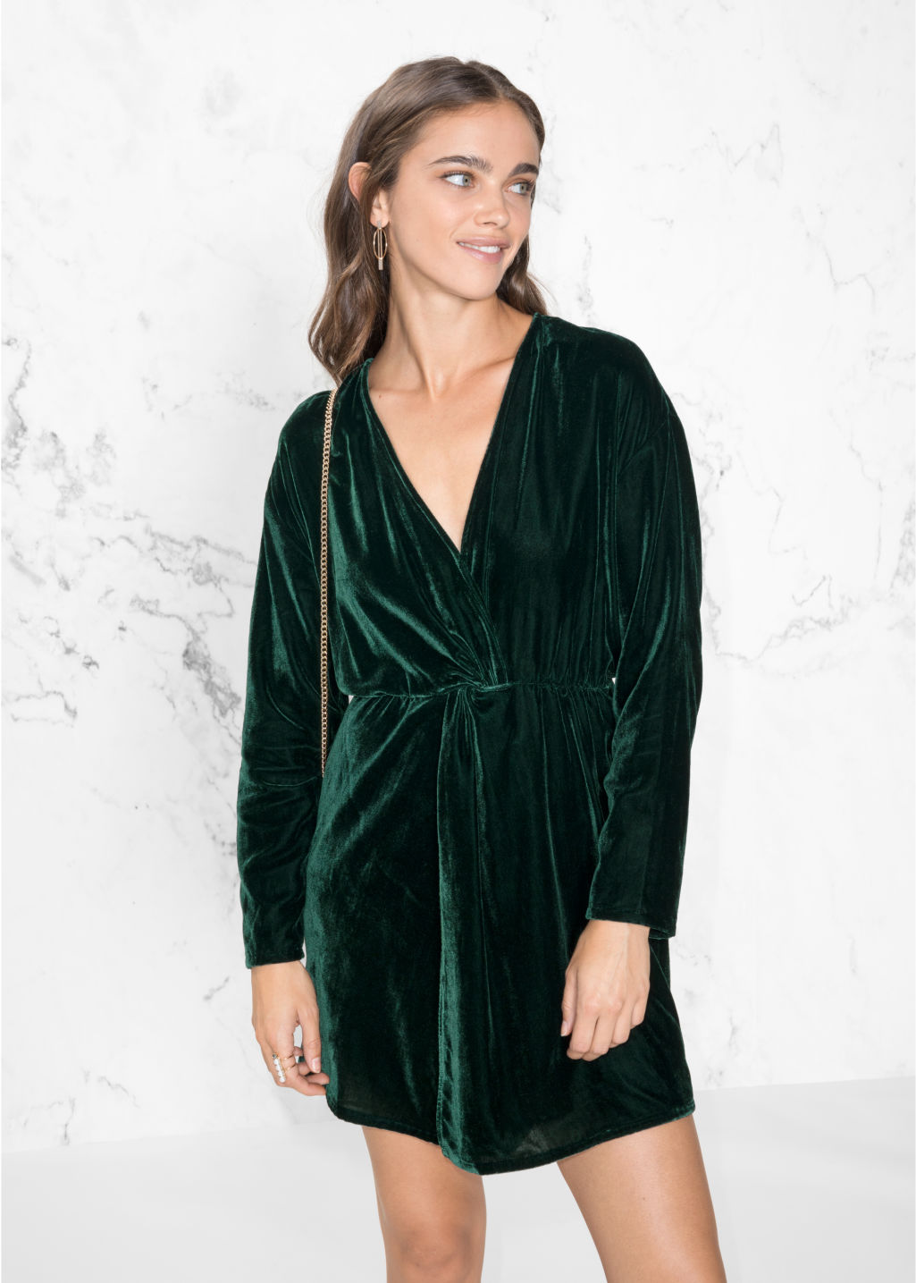 Model front image of Stories velvet dress in green