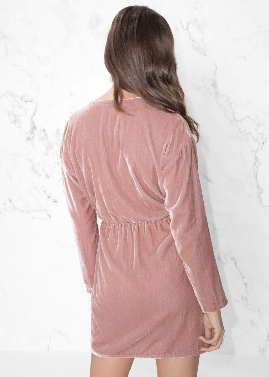 Model back image of Stories velvet dress in pink