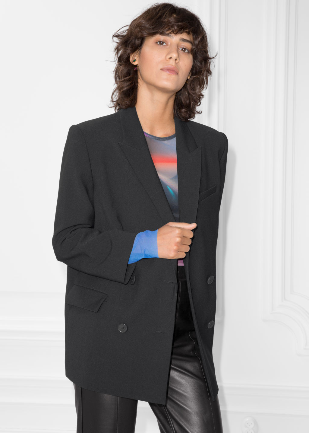 Model front image of Stories double breasted blazer in black
