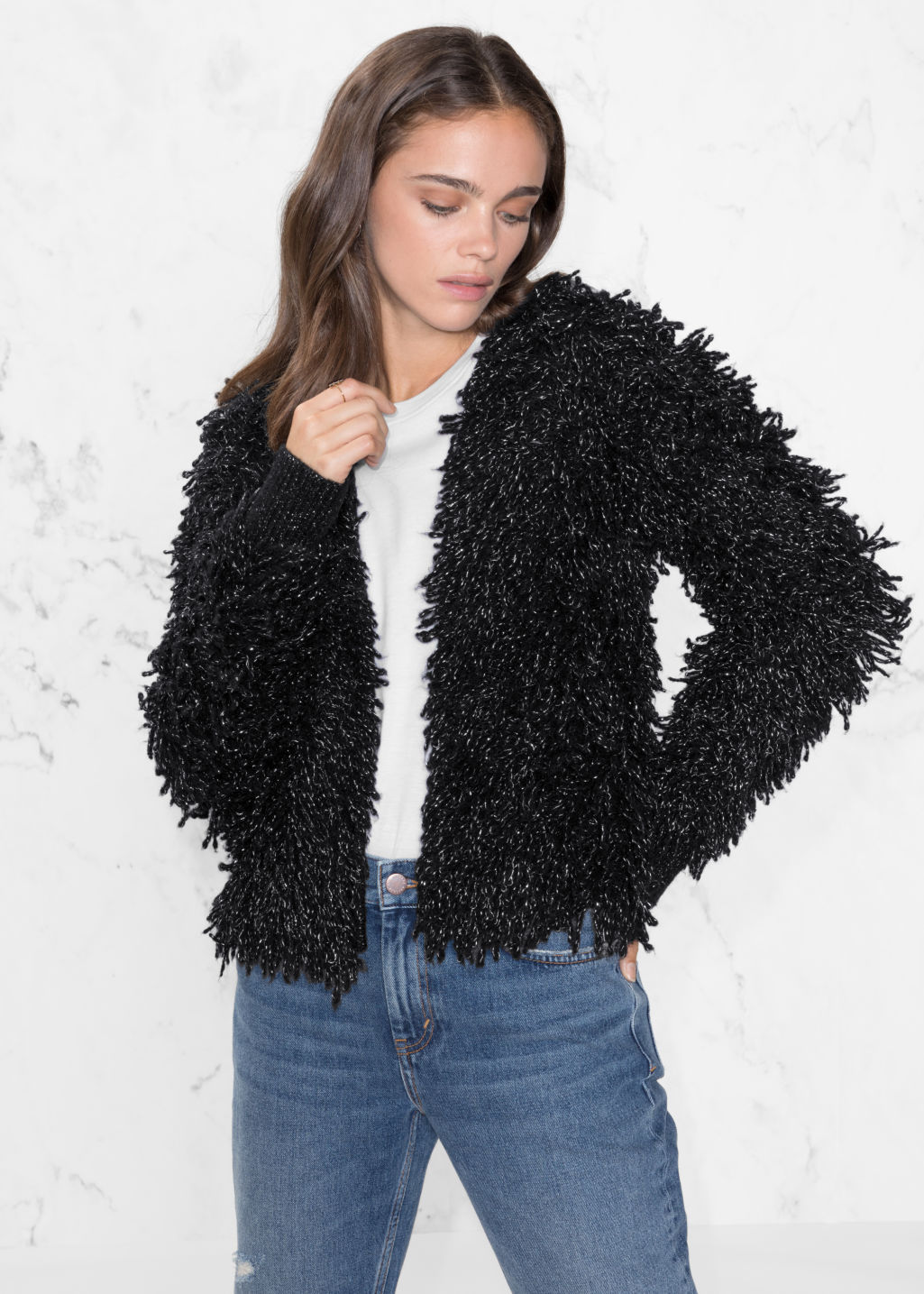 Model front image of Stories metallic wool-blend cardigan in black