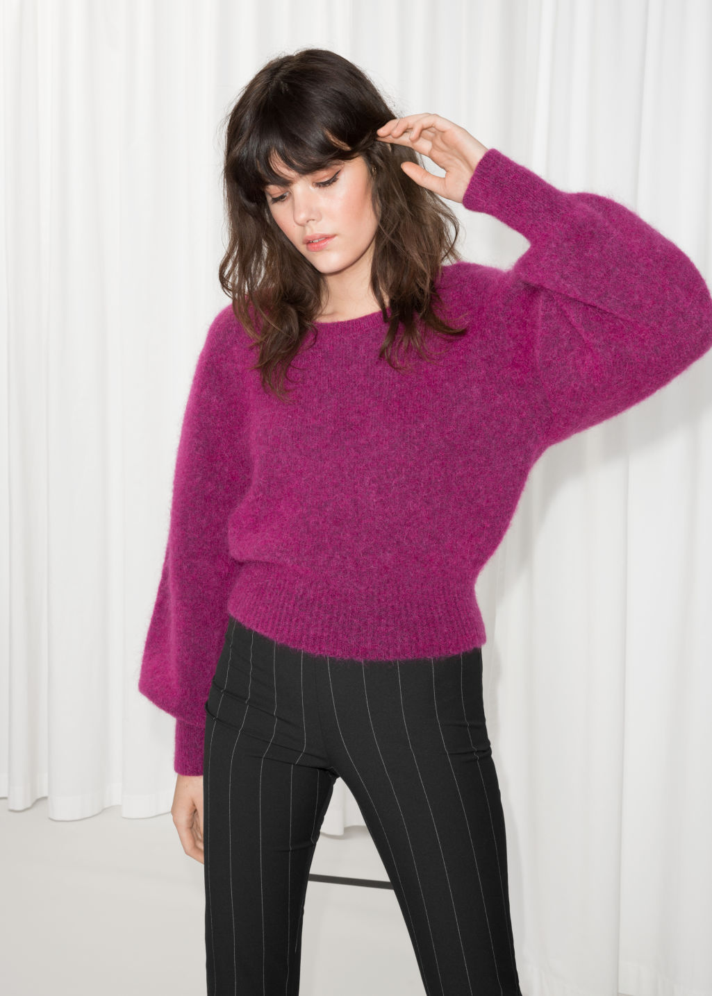 Model front image of Stories boat neck sweater  in pink