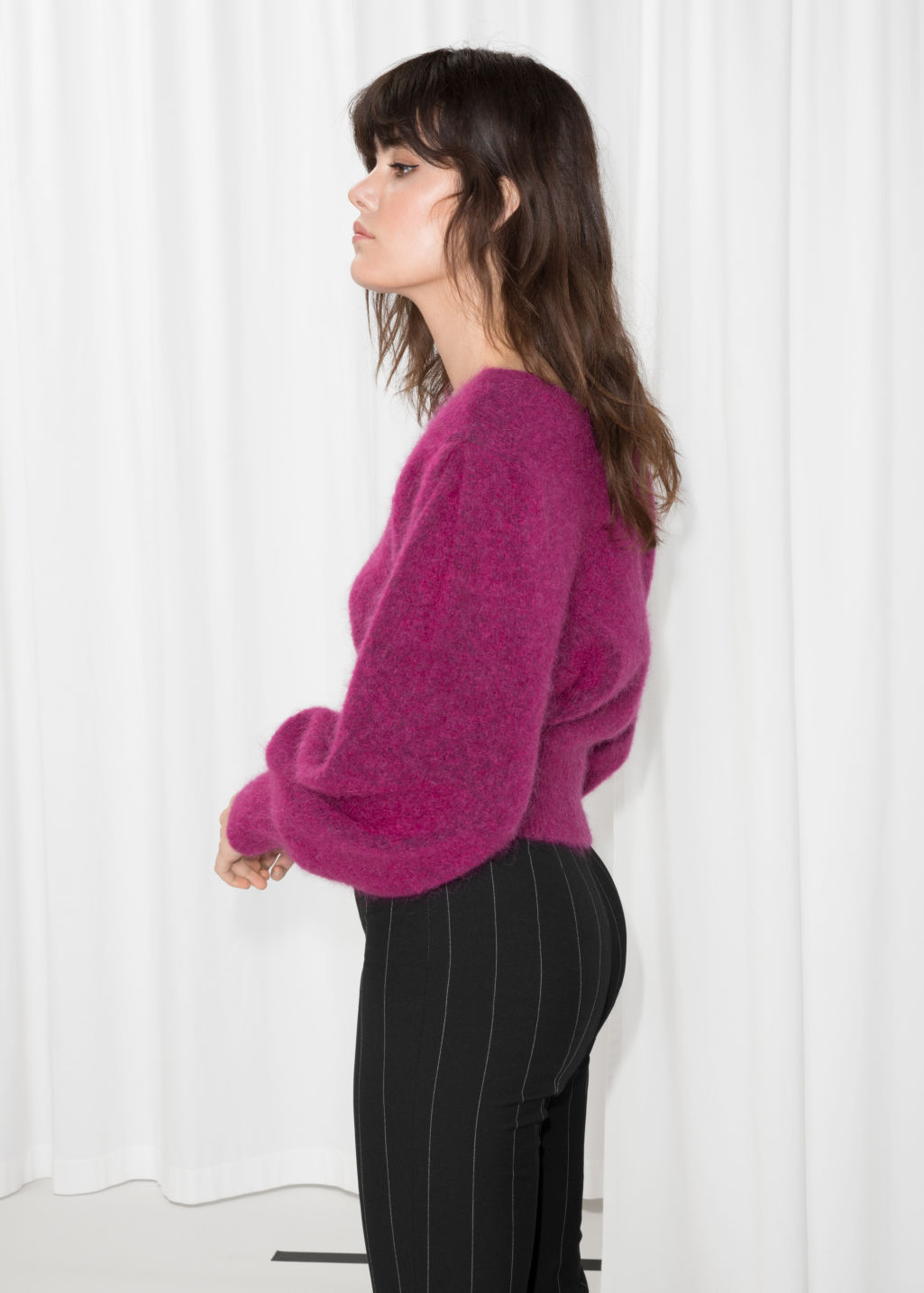 Model back image of Stories boat neck sweater  in pink