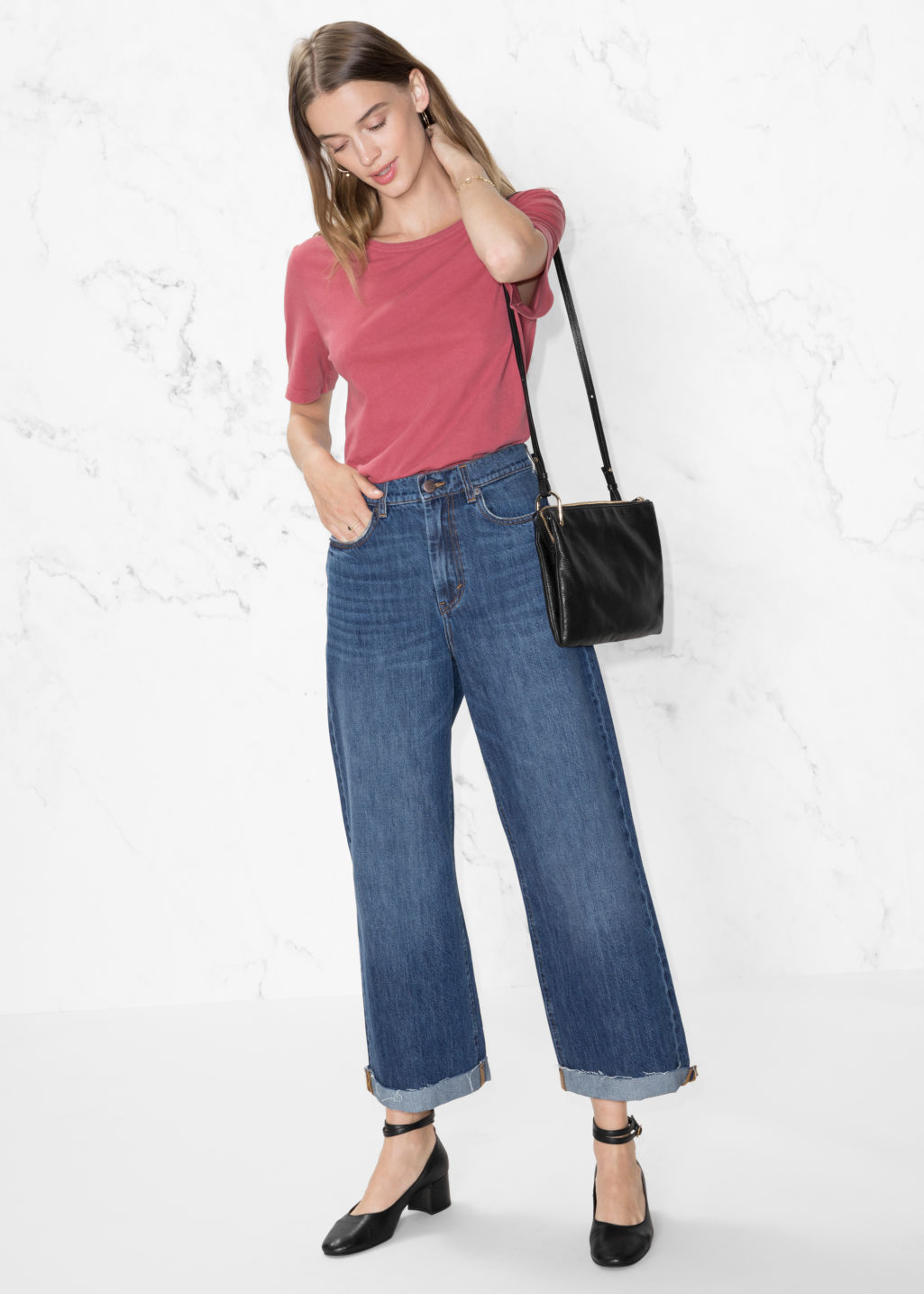 Model front image of Stories cropped wide jeans in blue