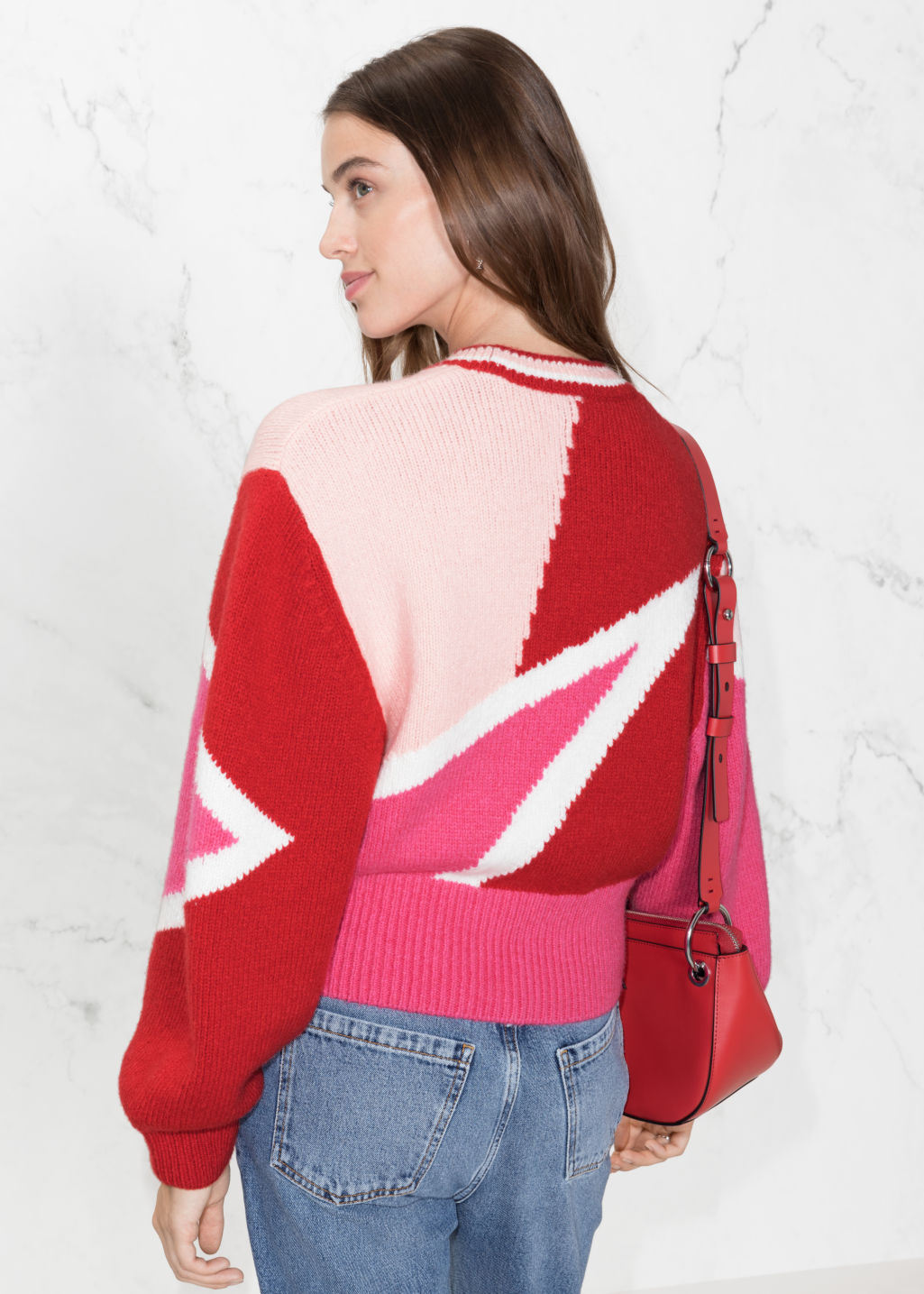 Model back image of Stories color block sweater in pink