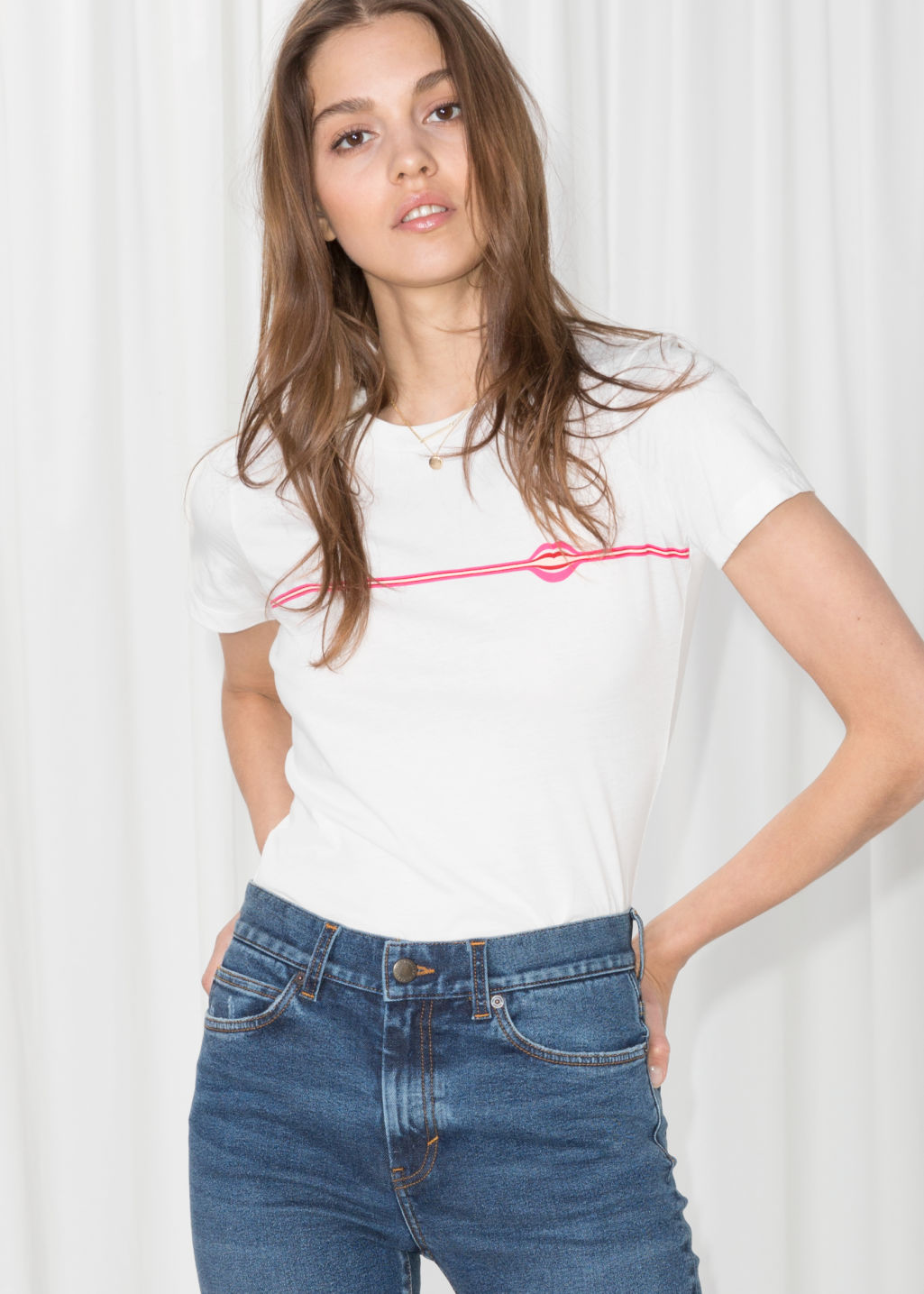 Model front image of Stories micro patch t-shirt in white