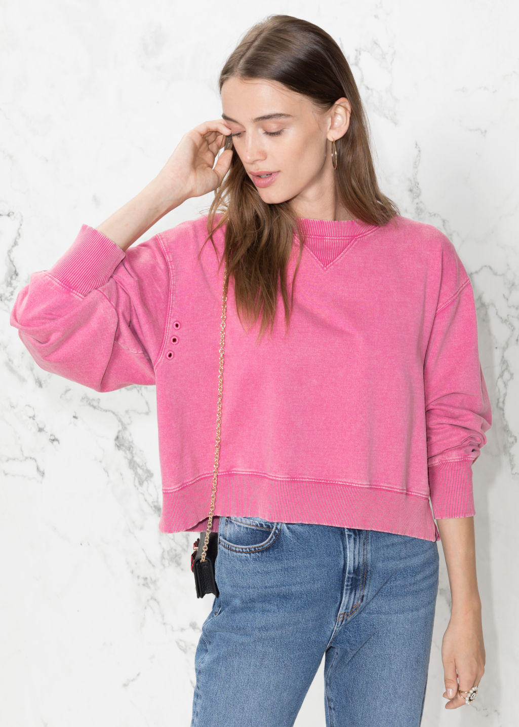 Model front image of Stories cropped pullover in pink