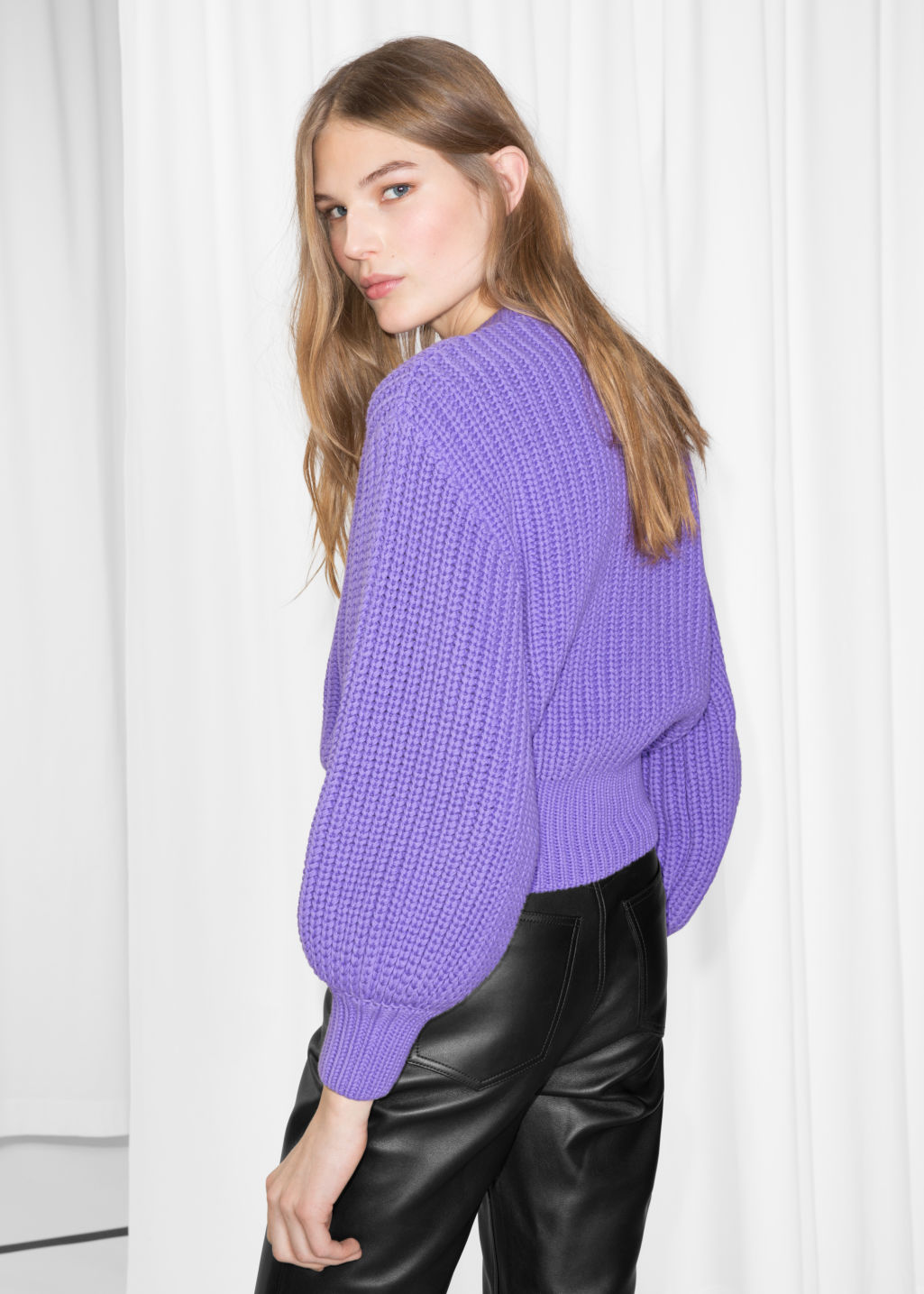 Model back image of Stories chunky rib knit sweater in purple