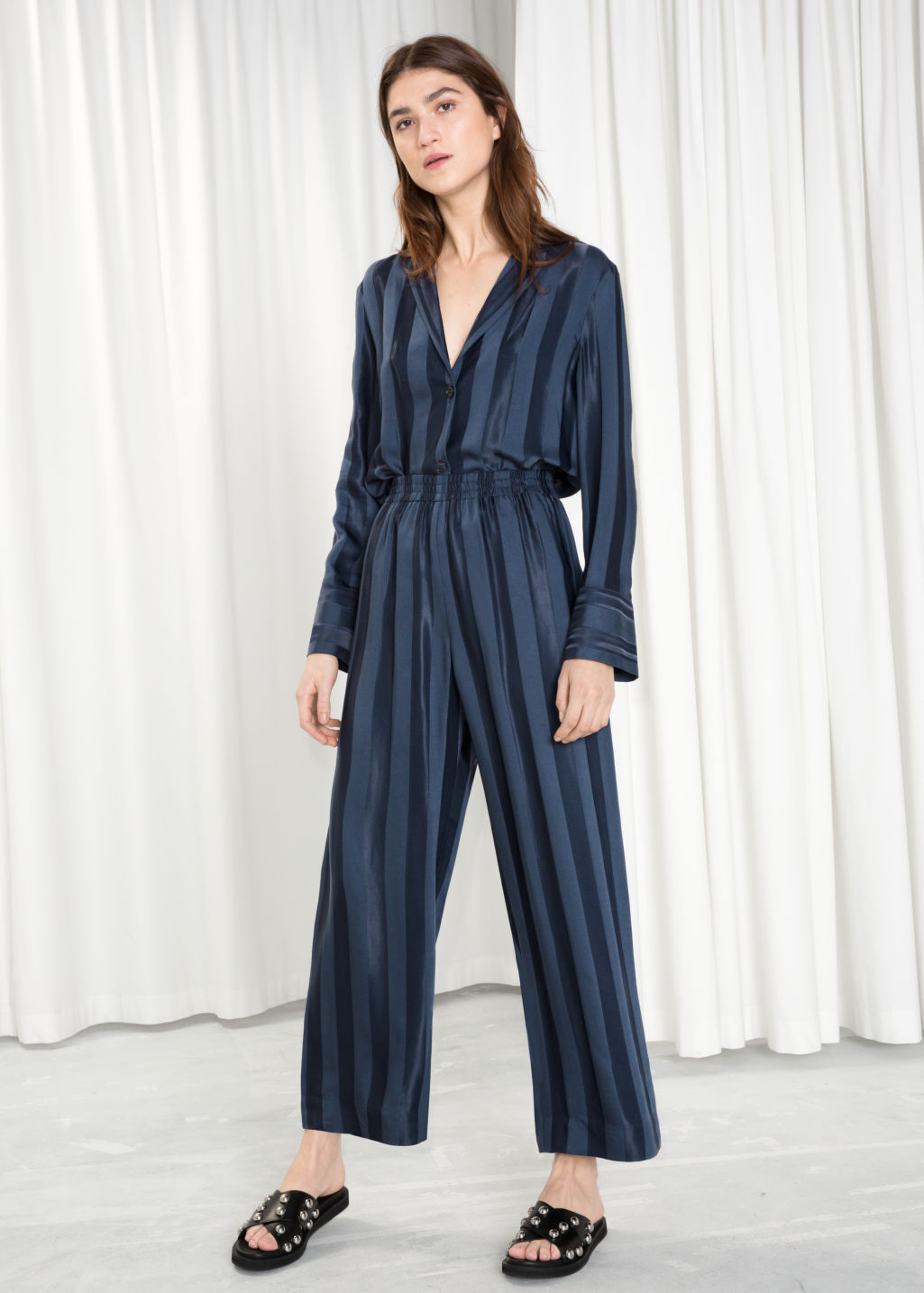 Model front image of Stories wide jacquard striped trousers in blue