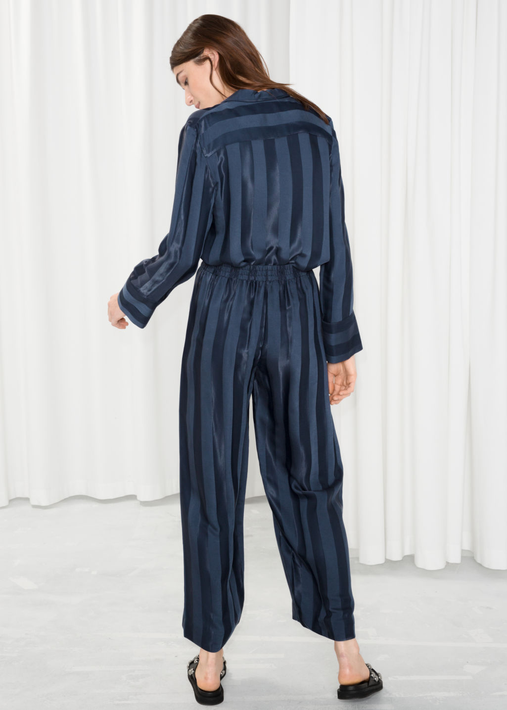 Model back image of Stories wide jacquard striped trousers in blue