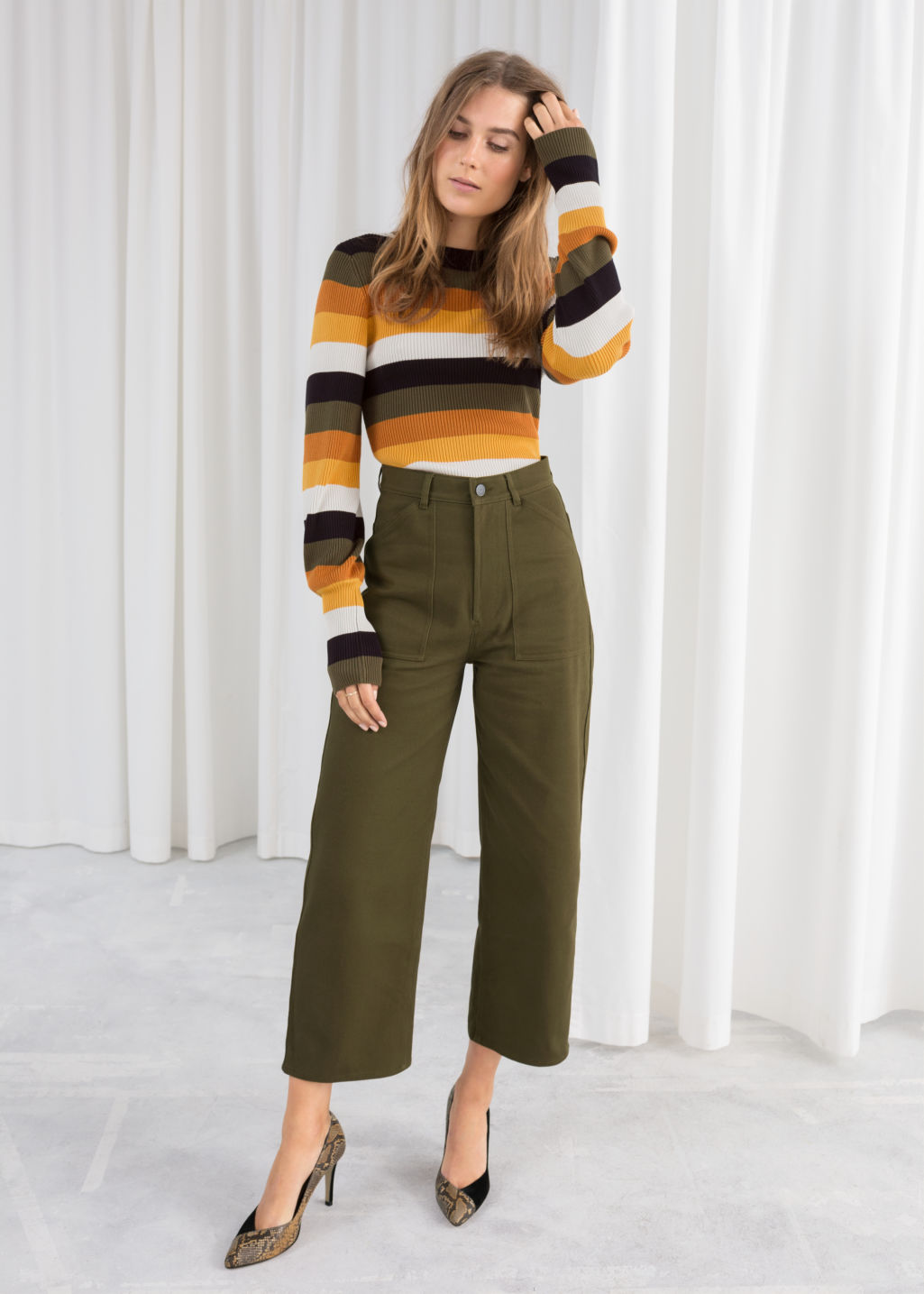Model front image of Stories workwear culottes in green