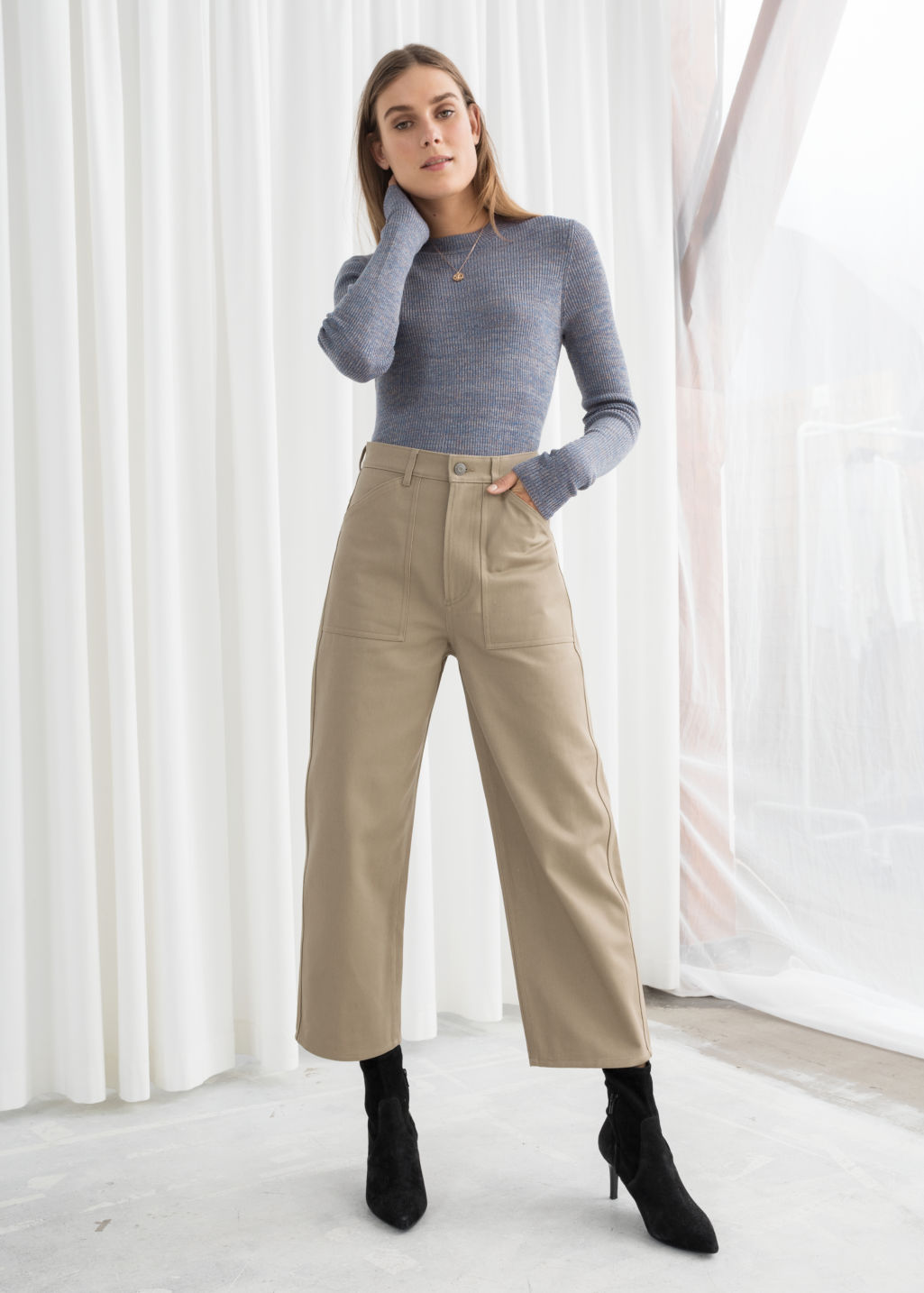 Model front image of Stories workwear culottes in beige