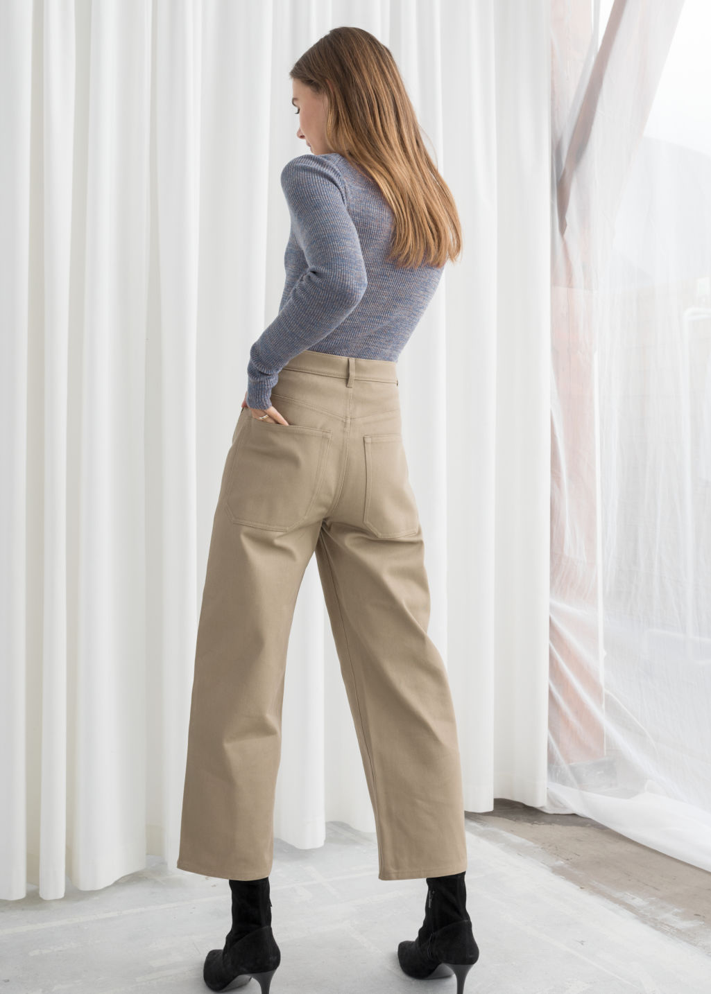 Model back image of Stories workwear culottes in beige
