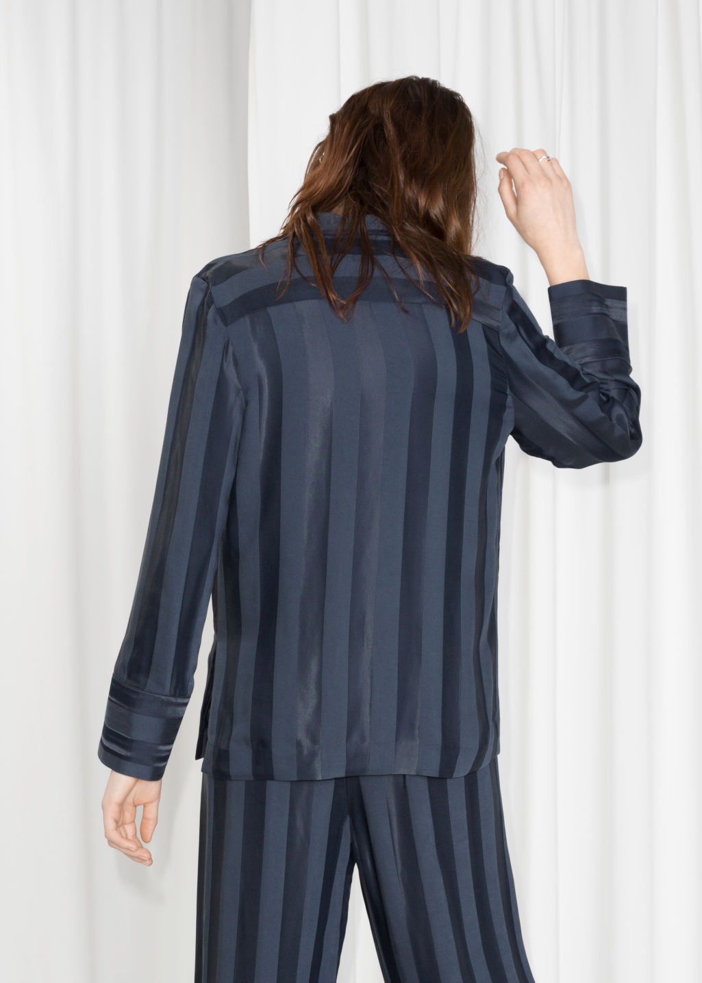 Model back image of Stories jacquard stripe lounge shirt in blue