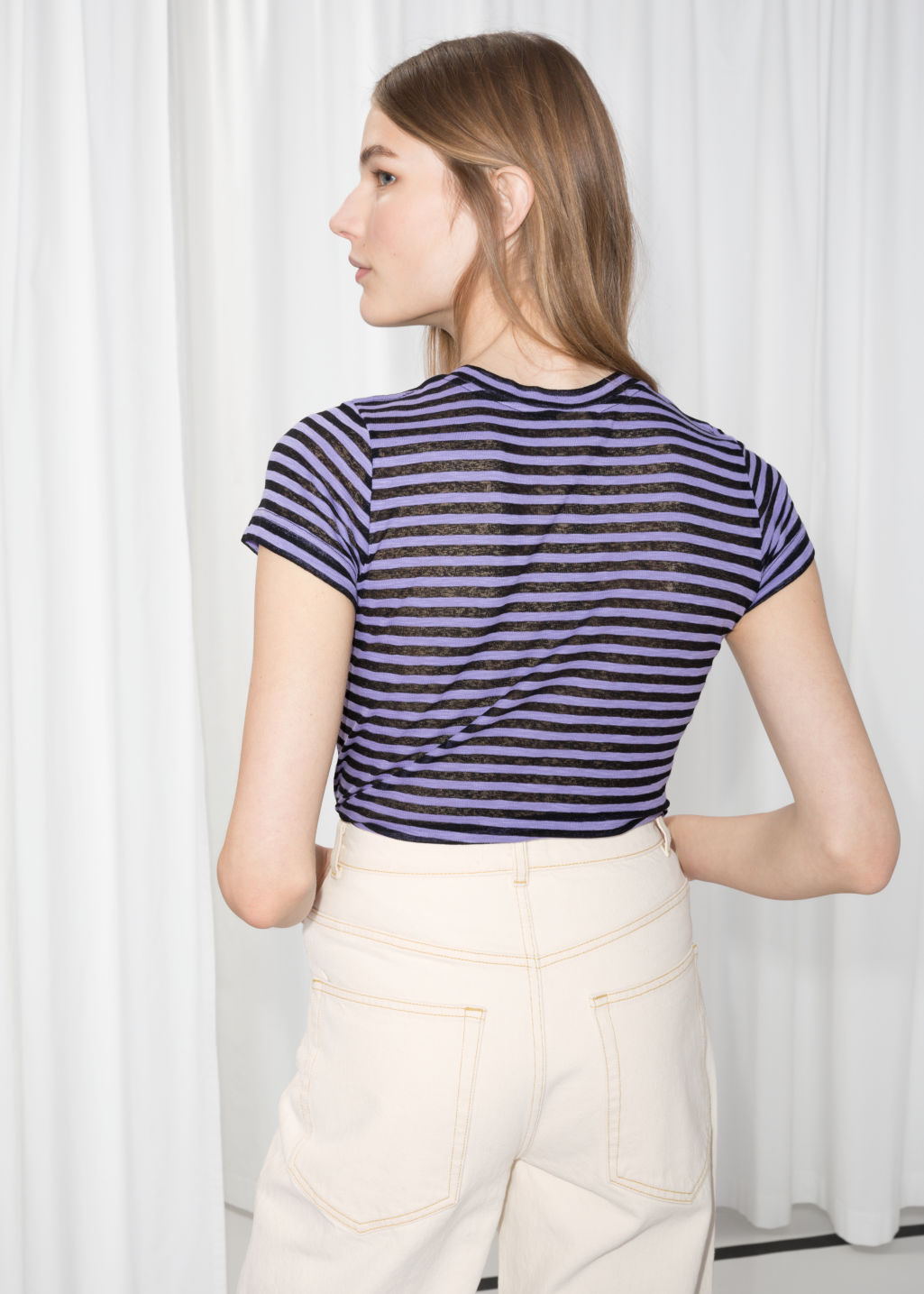 Model back image of Stories sheer striped t-shirt in purple
