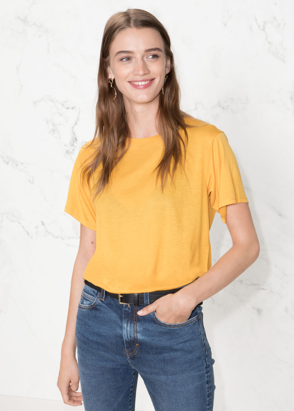 Model front image of Stories relaxed fit jersey tee in yellow