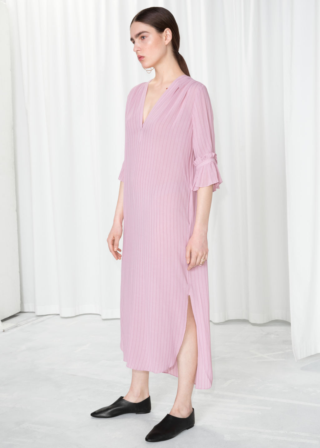 Frill Sleeve Shirt Dress Pink Maxi Dresses Other Stories