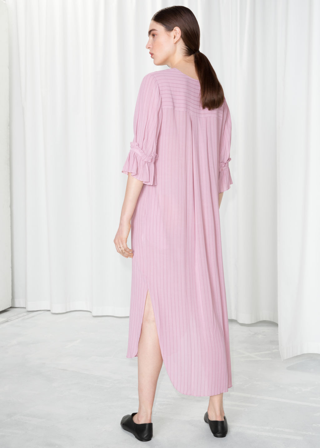 Model back image of Stories frill sleeve shirt dress in pink