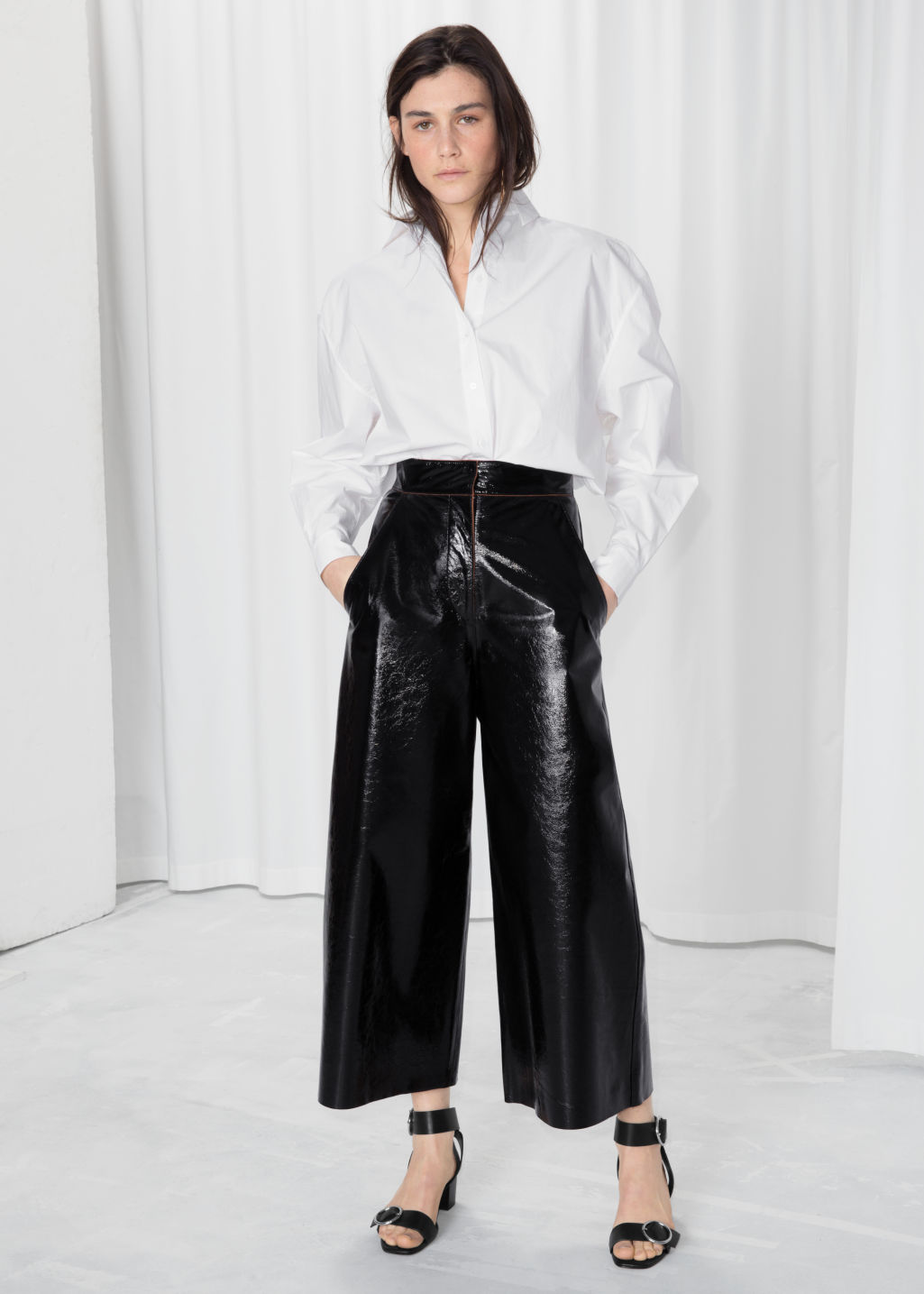 Model front image of Stories patent leather culottes  in black