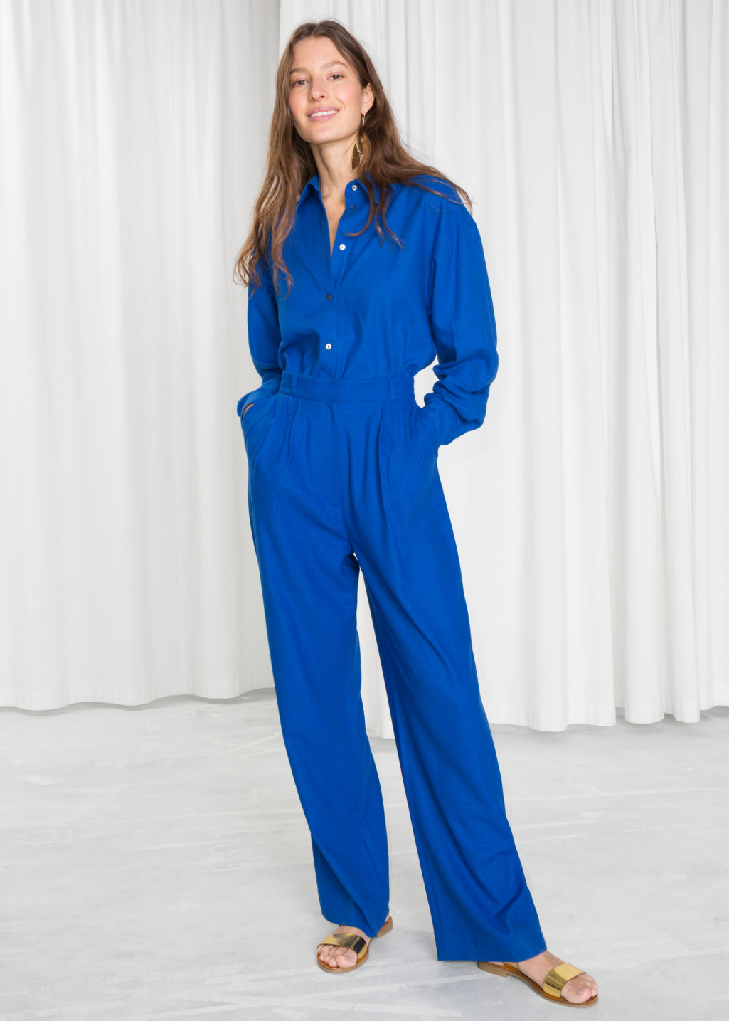 Model front image of Stories high waisted wide trousers in blue