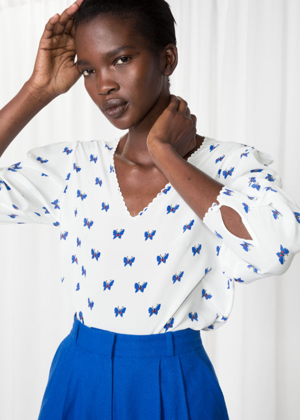 Butterfly Print Silk Blouse
