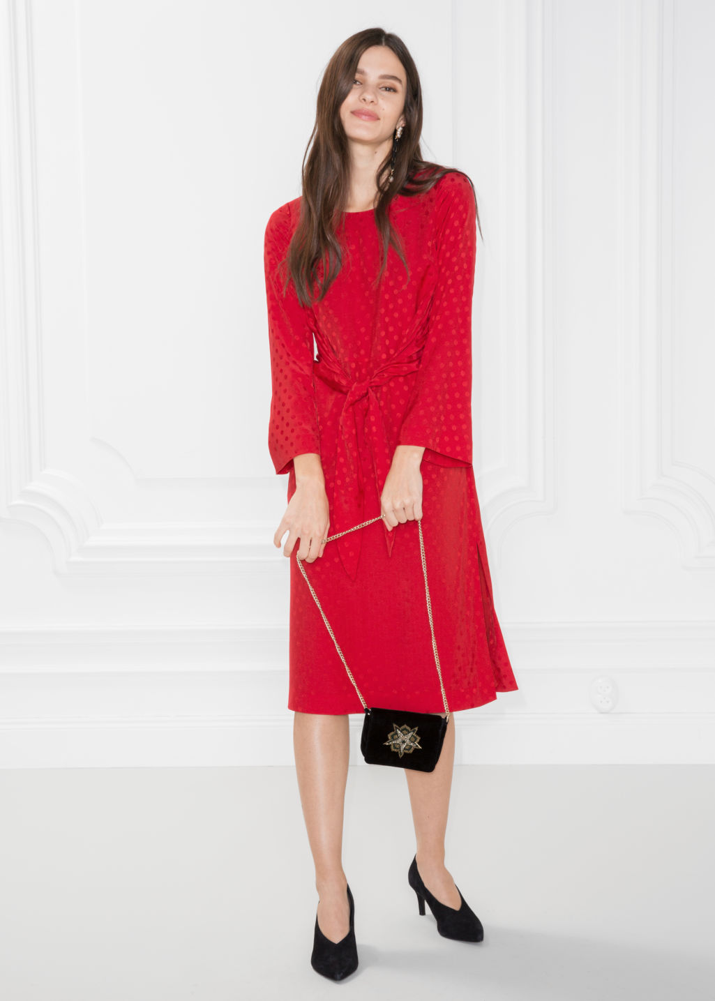 Model front image of Stories knot dress in red