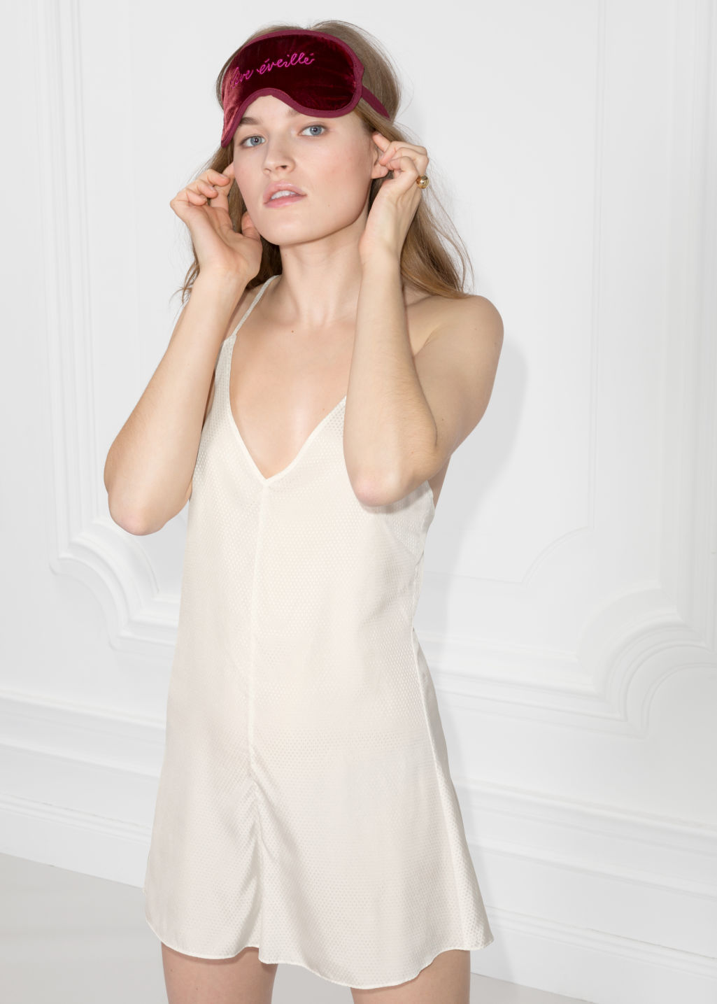 Model front image of Stories lounge playsuit in beige