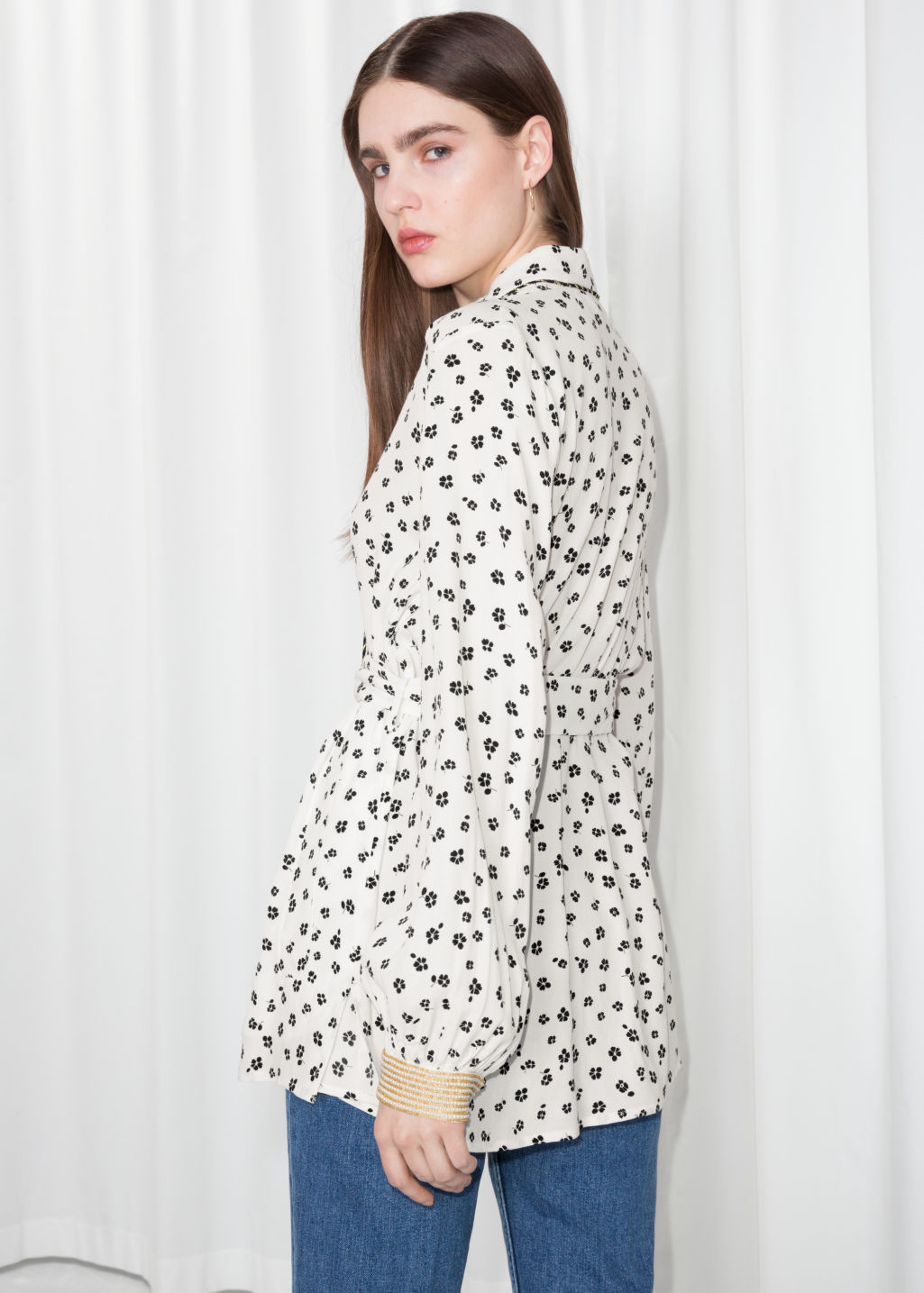 Model back image of Stories printed tunic in white