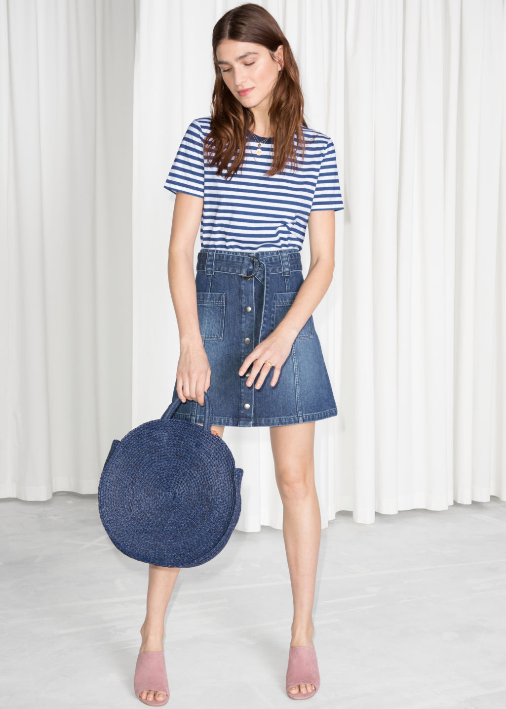Model front image of Stories a-line denim mini skirt  in blue