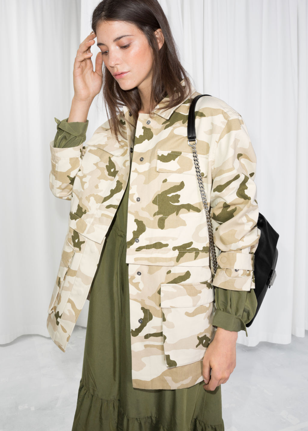 Model front image of Stories army jacket in beige