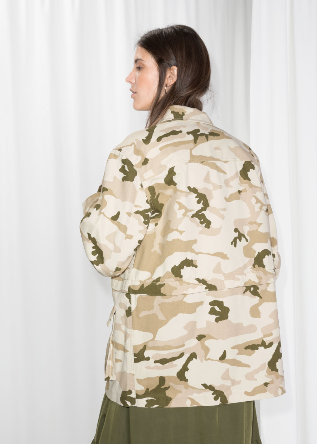 Model back image of Stories army jacket in beige