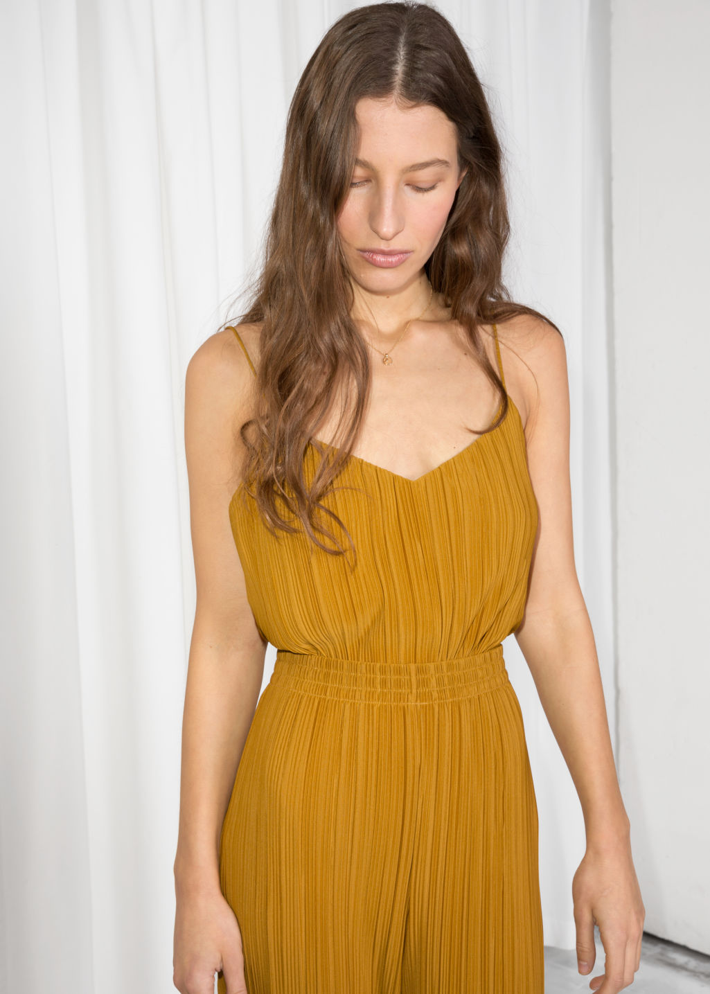 93bd6aba4f8c6e Pleated Plissé Tank Top - Mustard - Tanktops   Camisoles -   Other ...