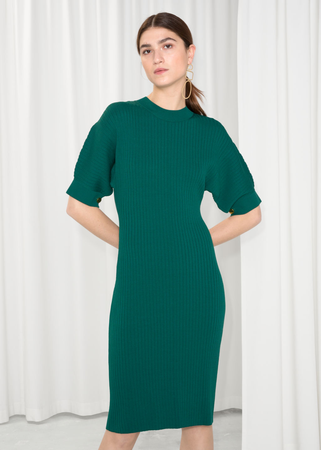 Fitted Ribbed Dress - Green - Midi dresses - & Other Stories