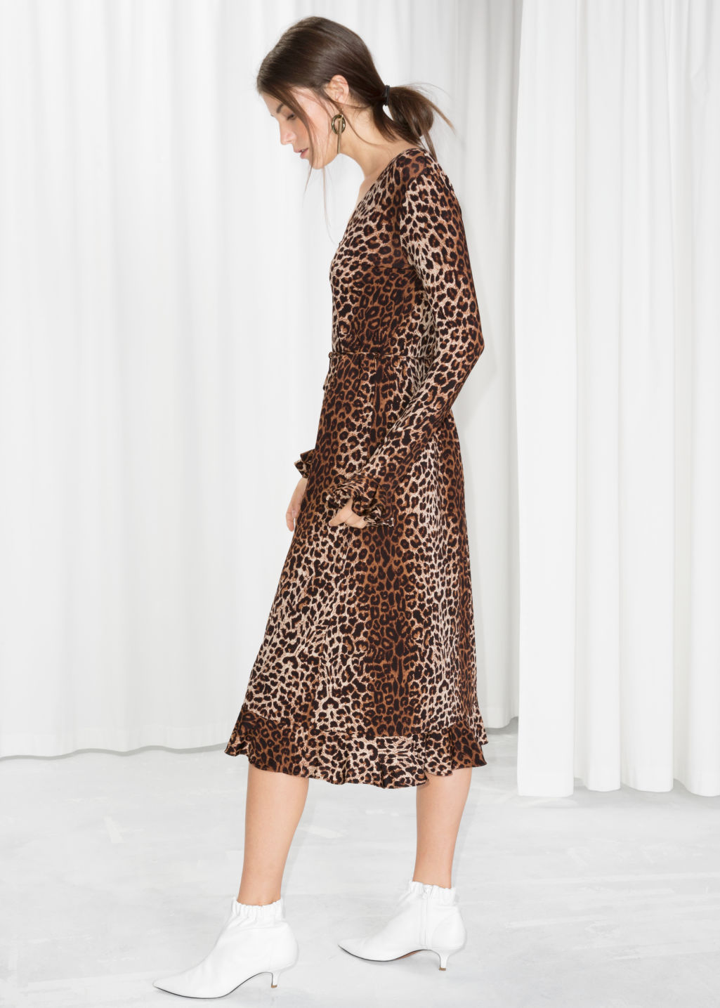 Model front image of Stories leopard print midi dress in beige