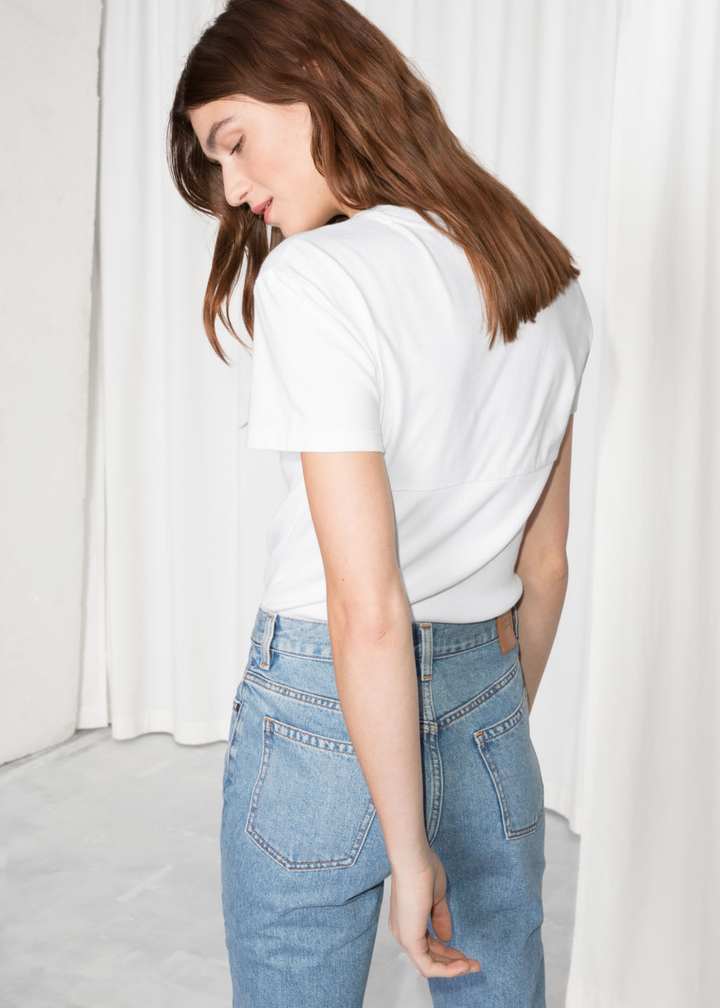 Model back image of Stories rib corset t-shirt   in white