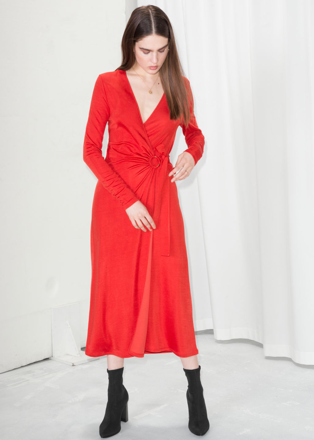 Model front image of Stories o-ring belted midi dress in red
