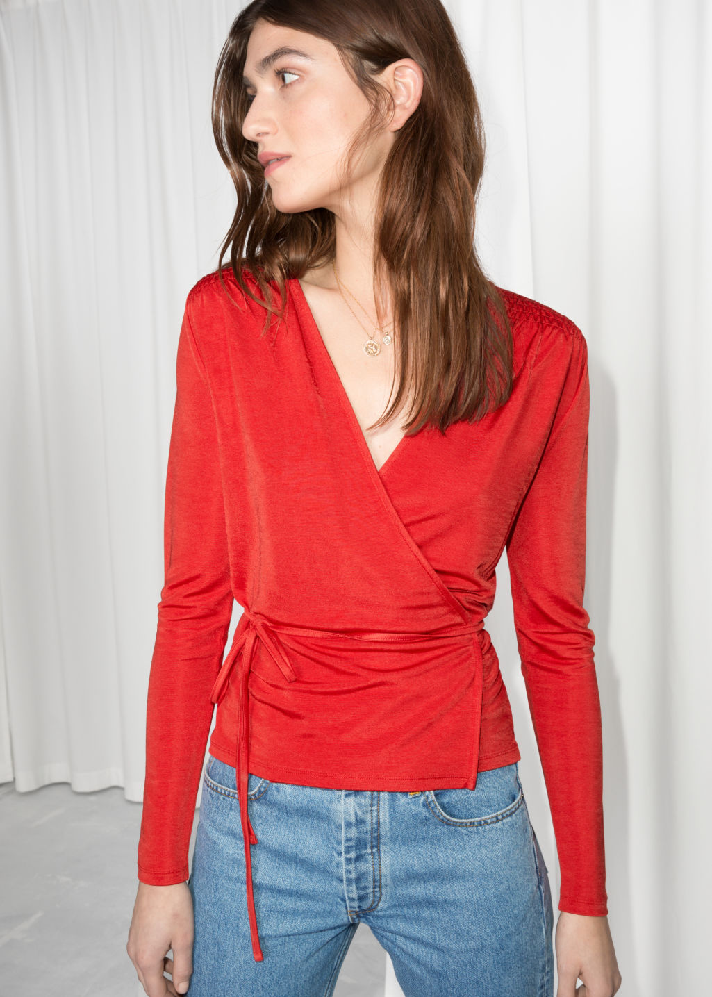 Model front image of Stories wrap tie blouse  in red