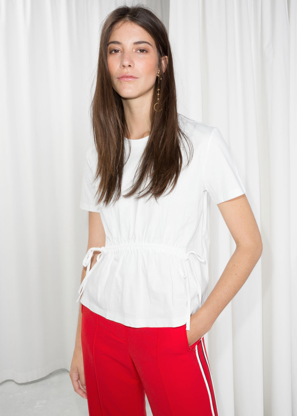 Model front image of Stories drawstring waist tee in white