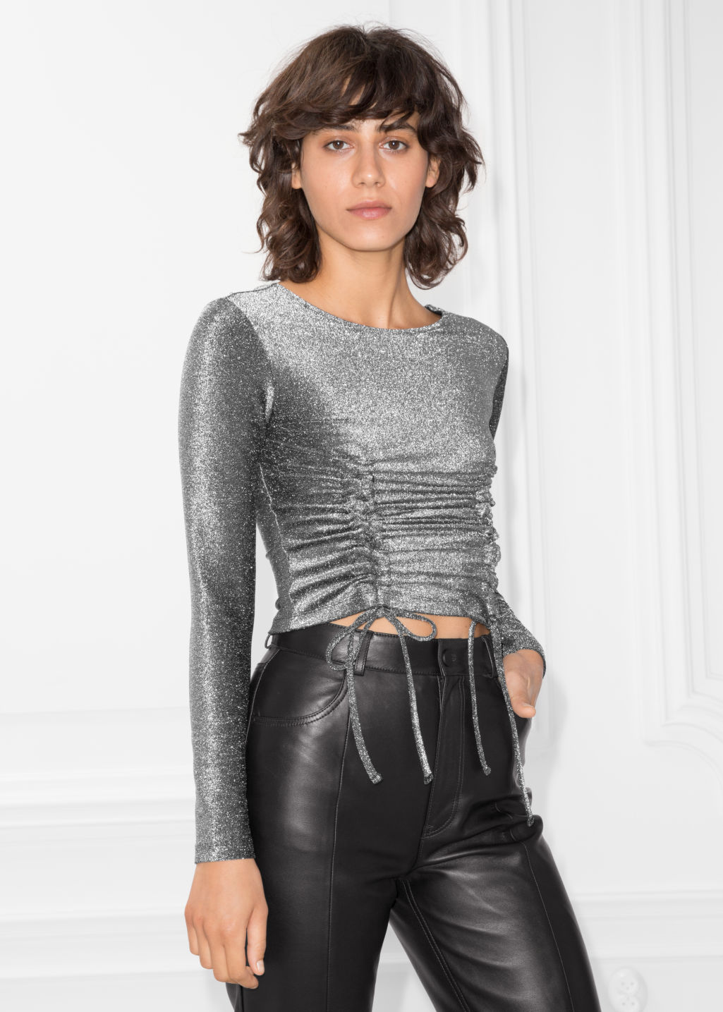 Model front image of Stories metallic drawstring top in silver