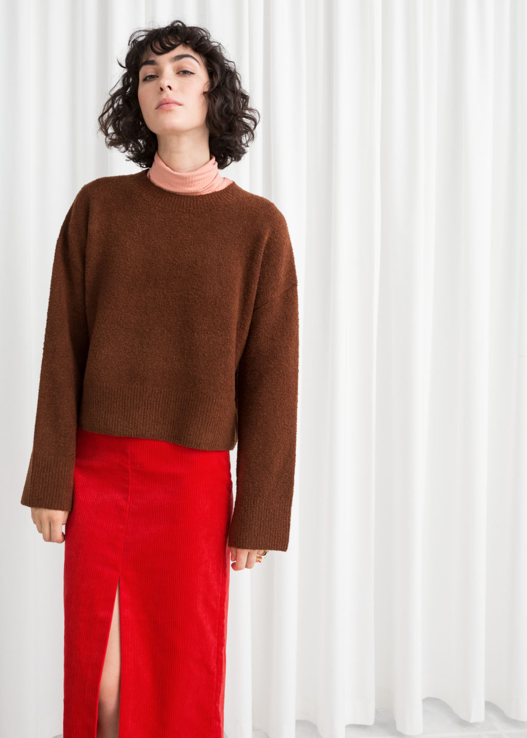 Model front image of Stories cropped sweater  in brown