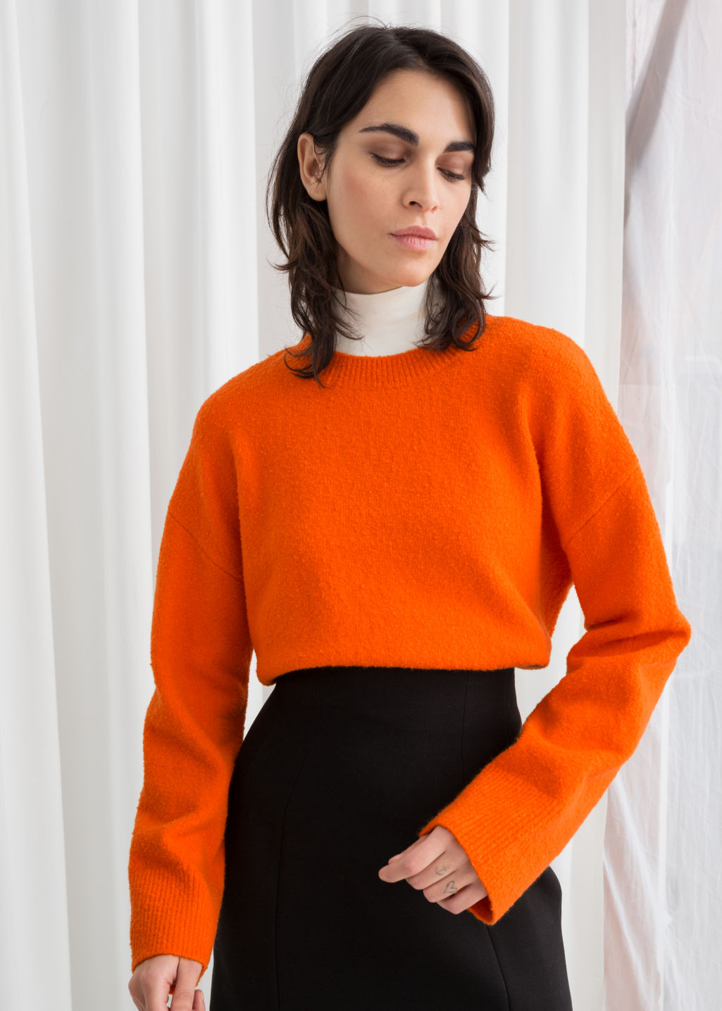 Model front image of Stories cropped sweater  in orange