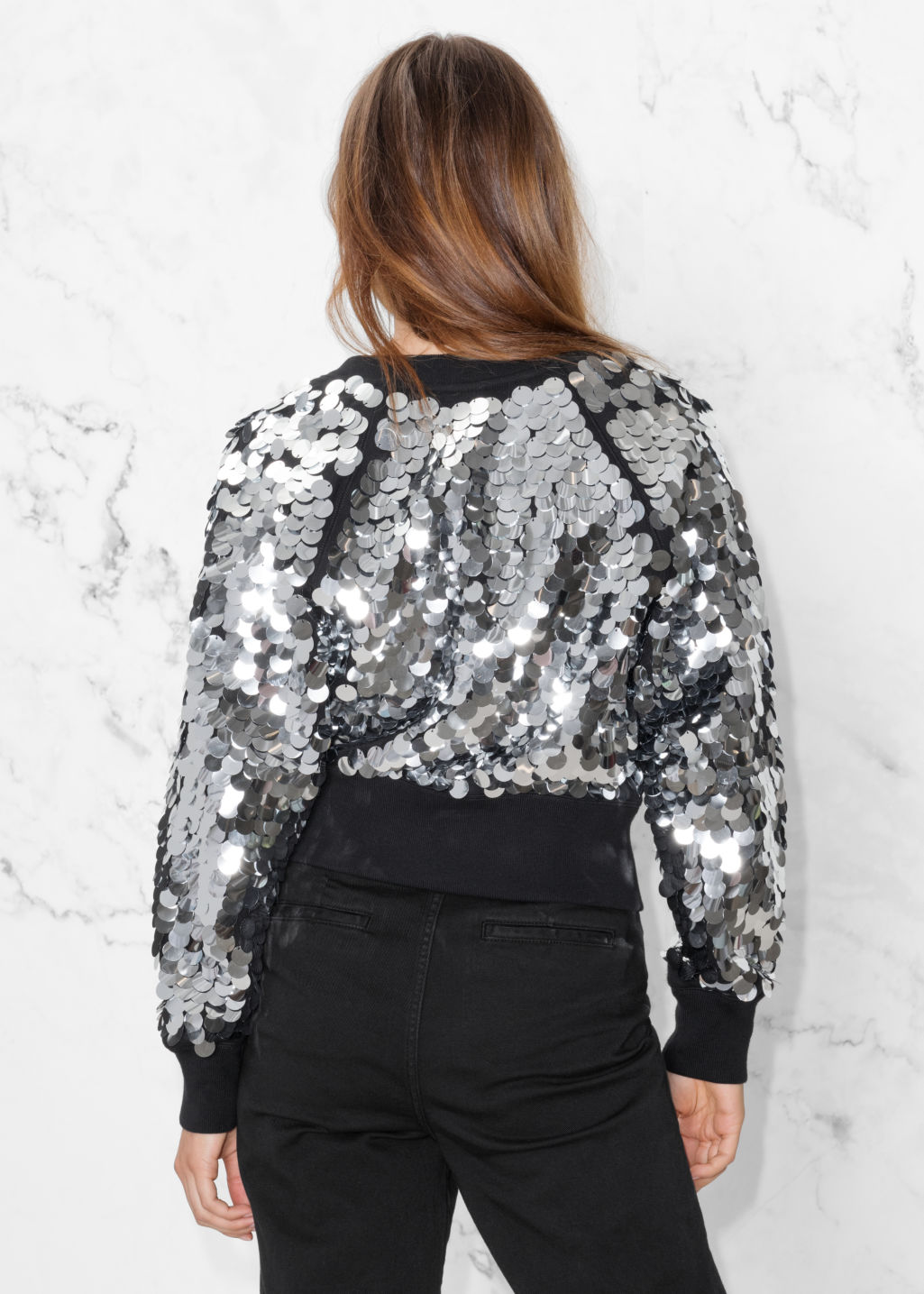 Model back image of Stories sequin jacket in black
