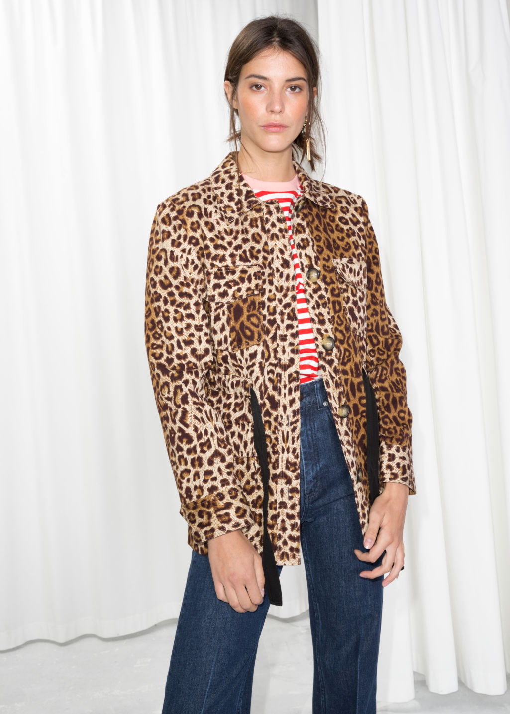 Model front image of Stories leopard print jacket in beige