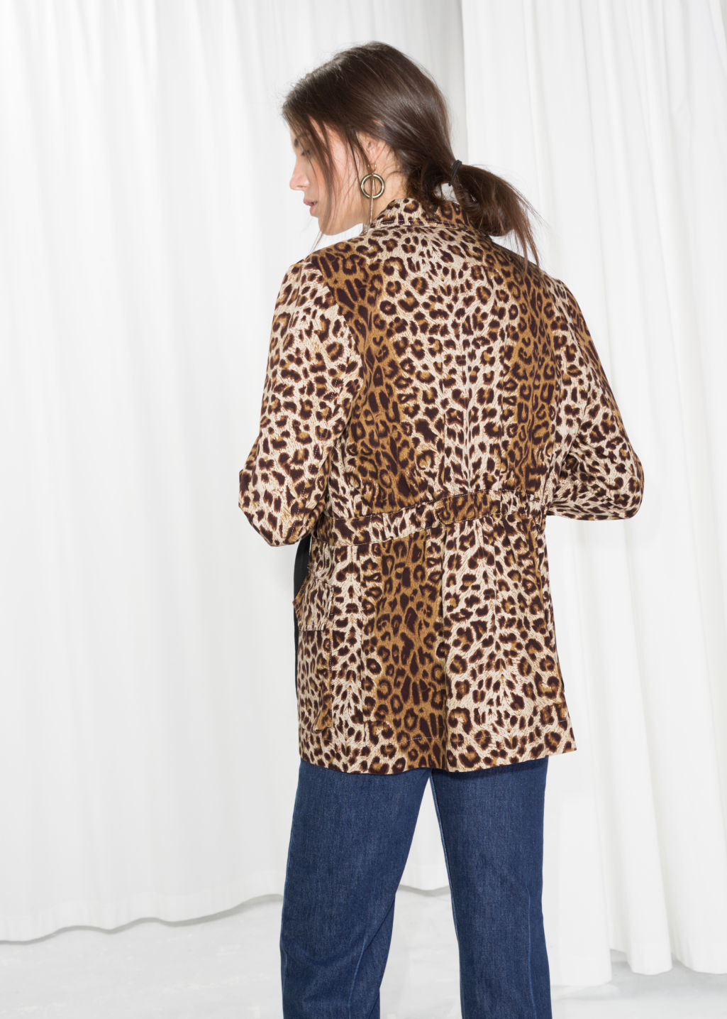 Model back image of Stories leopard print jacket in beige