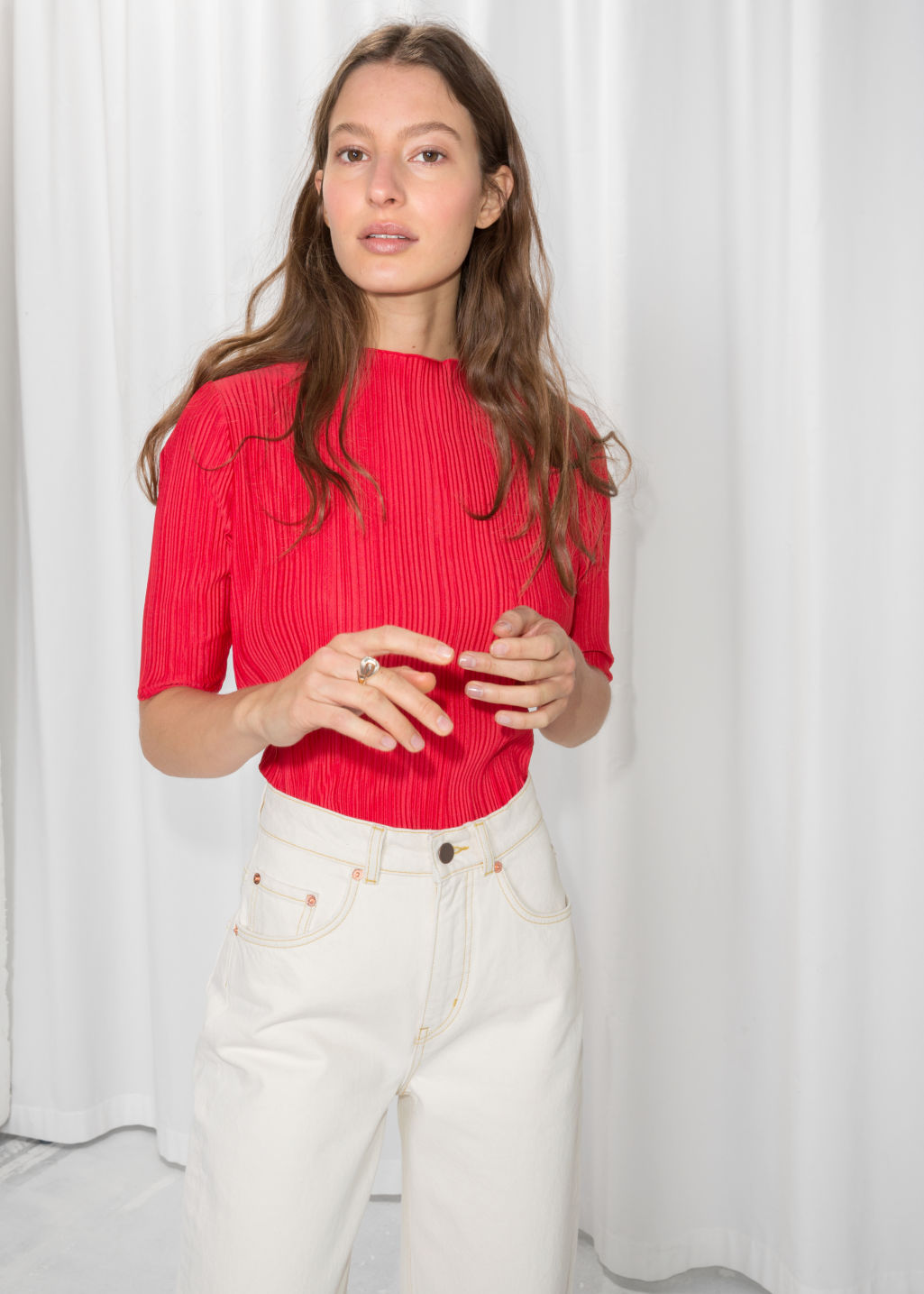 Model front image of Stories pleated plisse blouse  in red