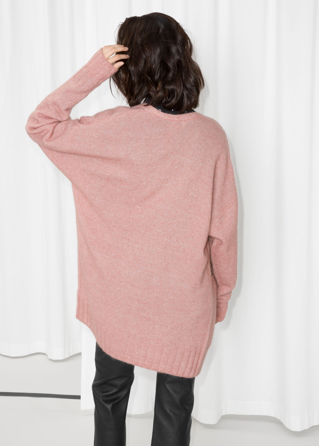 Model back image of Stories mohair & wool oversized cardigan in pink